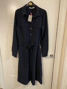 Oasis Bnwt Navy Button Down Midi Shirt Dress Size 8/10