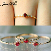 Minimalist Round Cut Red Ruby Thin Ring Chic Yellow Gold Filled Wedding Jewelry