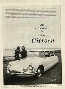1960 CITROEN DS at beach with scuba divers Vintage Print Ad