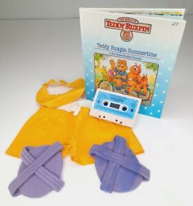 Vintage Teddy Ruxpin 1980s Outfit Summertime Beach Clothing Tape & Book