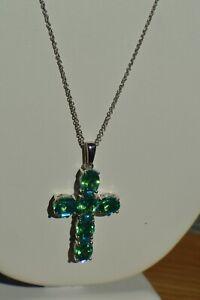 """9.25ct Peacock Quartz Cross Pendant w/20"""" Chain ~ Platinum over Fine Silver"""
