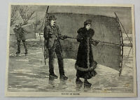 1885 magazine engraving ~ SAILING ON ICE SKATES
