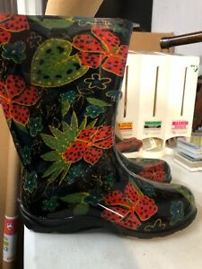 SLOGGERS WATERPROOF BOOTS LILY PADS FLORAL WOMEN'S SIZE 7 RAIN BOOTS, GARDEN