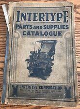 Vintage Printing Press--1923 INTERTYPE Parts and Supplies Catalogue