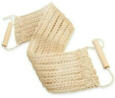 Exfoliating Sisal Natural Bath Back Scrubber w/ Wooden Handles, Made in Russia