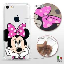 IPHONE 5C COVER PROTETTIVA GEL TRASPARENTE GLITTER DISNEY MINNIE MOUSE FLUO