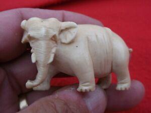 Antique Bovine Bone Carved Elephant Figure Stunning Detailing For Its Size