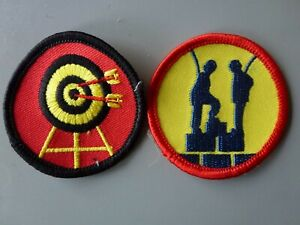 2 Scout/Guide Fun Activity Badges Archery/Crate stacking