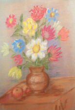 Vintage pastel drawing still life flowers