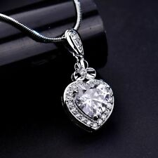 Lady Luxurious Fashion Necklace Love Heart RhinestoneCrystal Pendant Jewellery