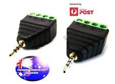 From OZ Quality 2PC AV Mic Screw Down Post 4P To 4 Pole 2.5mm Male Plug Adaptor