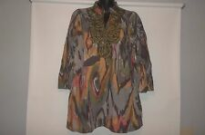 KAS NEW YORK  Stunning V-Neck Embroidered Tunic Shirt Size S.