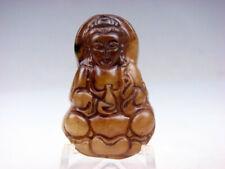 Vintage Nephrite Giada Intagliato Mano * Kwan-Yin Buddha & Bottiglia* Ciondolo