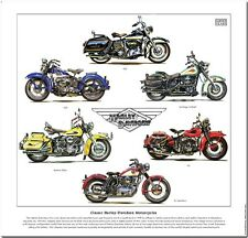 Classique harley-davidson motorcycles-fine art print-flh wl wld xl sportster +