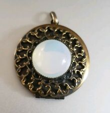 Vintage Opalescent Glass Cabochon Photo Locket Pendant for necklace
