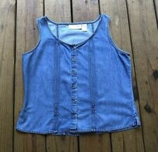 Classic Blues Wrangler women's L blue jean denim button up sleeveless blouse