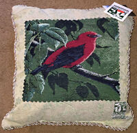 "Song Birds Scarlet Tanager 17"" Tapestry Square Pillow ~ National Wildlife Fed."