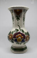 Vintage Delft Polychrome Vase With Certificate Handpainted Floral