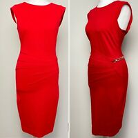 LIPSY love Michelle Keegan size 12 red pencil bodycon wiggle dress chain rock