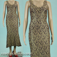 Vintage 80s Gold Red Textured Evening Form Fitted long maxi gown dress Sz S