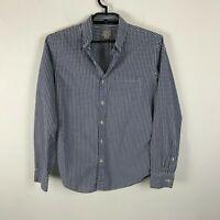 J. Crew Dress Shirt Mens Size M Slim Fit Blue White Plaid Long Sleeve Cotton
