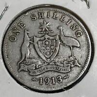 1913 AUSTRALIA SILVER ONE SHILLING BETTER DATE