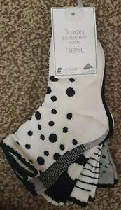 BNWT Next Baby Girls Socks 6-8.5 5 Pairs ankle monochrome black grey white