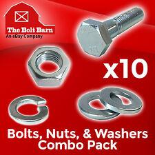 (10) M10-1.5x70 Class 10.9 Hex Cap Screws Hex Bolts, Nuts, Washers, Lock Washers