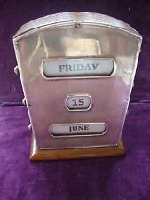 Antique very large 1881 Lawrence Emanuel silver and oak perpetual desk calendar