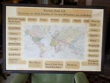 c1930 World Map Barclays Bank Advertising Old Vintage Framed 77x52cms Advert