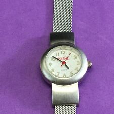 SILVER TONE COCA COLA ANALOG WATCH WITH MESH BAND