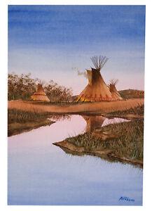 VINTAGE LANDSCAPE PAINTING NATIVE AMERICAN TEEPEES TIPIS ED ABARR CALIFORNIA ART