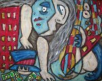 Blues City Bass Cubism Pop Folk Art Print 8x10 by Artist Kimberly Helgeson Sams