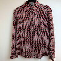 Ann Taylor Womens Button Down Shirt Red Black Geometric Long Sleeve 100% Silk 6