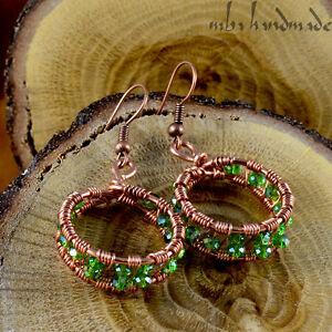 Green Shiny Swarovski Crystal Beads Handmade Earrings Copper Wire Wrapped