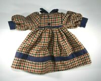 "Rust, Blue and Beige Plaid Dress with Blue Collar and Cuffs for 12"" Doll"
