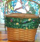Longaberger 1992 Hostess Remembrance Basket  w/ Em erald Vines Liner