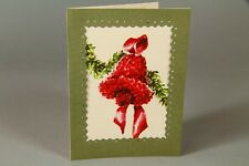 """Vintage Christmas Greeting Card Art Deco Painting of Bell 4.5 x 6"""""""