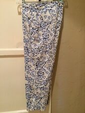 J. Jill Stretch Capris Blue White Print Size S
