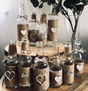 10 X Hessian Boho Rustic Style Bottles Wedding
