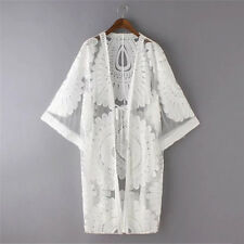 Womens Boho Lace Floral Crochet Cardigan Coat Kimono Tops Beach Bikini Cover Up