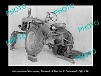 OLD 8x6 HISTORIC PHOTO OF INTERNATIONAL HARVESTER & FARMALL A TRACTOR 1941 LIFT