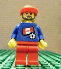 LEGO MINI–SPORTS–SOCCER–CANADA, #2, BLUE, RED LEGS, (Stickers)–GENTLY USED