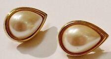 boucles d'oreilles percées couleur or bijou vintage perle blanche poire 139