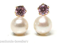 9ct Gold Cultured Pearl and Pink studs earrings Gift Boxed Made in UK Christmas