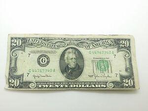 Old Paper Money 1950 Twenty $20 Dollar Bill Federal Reserve Note