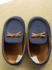 Janie And Jack Boys Shoes Size 12 To 18 Months ~~ Navy Suede and Brown Loafers