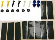 NUMBER PLATE FIXING KIT NUT & BOLT YELLOW WHITE BLACK BLUE X32 & 20 STICKY PADS