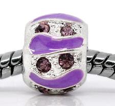Purple Rhinestone February Birthstone Enamel Spacer Charm for European Bracelets