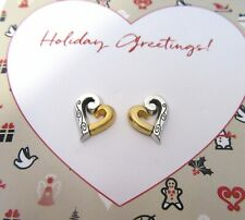Brighton Love Forever Earrings -hearts- gold & silver color-studs-post back